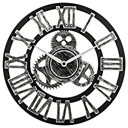 12 inch Noiseless Silent Gear Wall Clock - Large 3D Retro Rustic Country Decorative Luxury Art Big Wooden Vintage for House Warming Gift (12 inches, Roman-Silver)