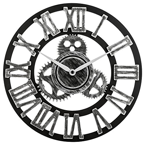 Cheap 12″ inch Noiseless Silent Gear Wall Clock – Large 3D Retro Rustic Country Decorative Luxury Art Big Wooden Vintage for House Warming Gift (12 inches, Roman-Silver)