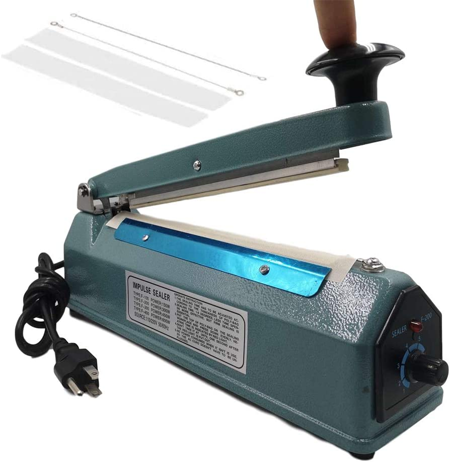 110V Metal Shell Impulse Manual Hand Sealer Heat Sealing Machine Spare Teflon & Sealing Elements (8 inch)