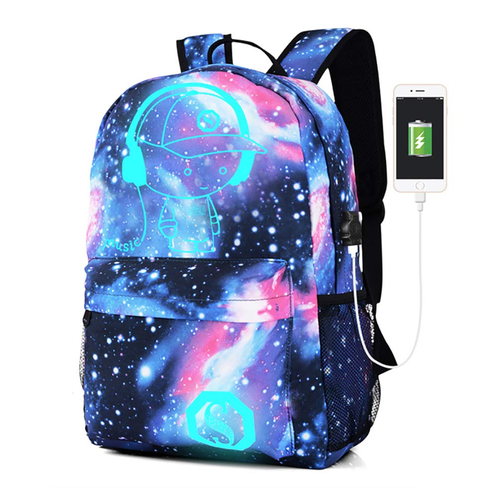 Lmeison Anime Cartoon Luminous Backpack with USB Charging Port and Lock &Pencil Case, Unisex Fashion Galaxy Daypack Shoulder Rucksack Laptop Travel Bag College Bookbag