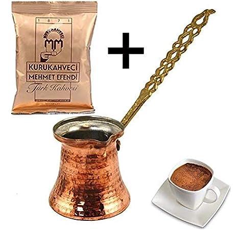 Turkish Zone Cafetera turca de Cobre Cezve con Mango de Metal Mehmet Efendi - Café Turco 100 g: Amazon.es: Hogar