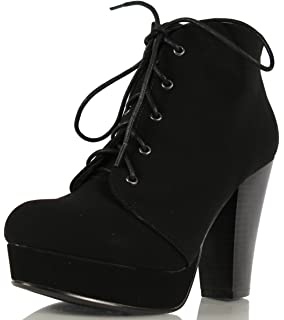 Solemate Womens Fashion Comfort Stacked Chunky Heel Lace Up Ankle Booties Boots