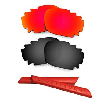 HKUCO Black Polarized Replacement Lenses plus Red Earsocks Rubber Kit For Oakley Jawbone Vented qjsdxzg