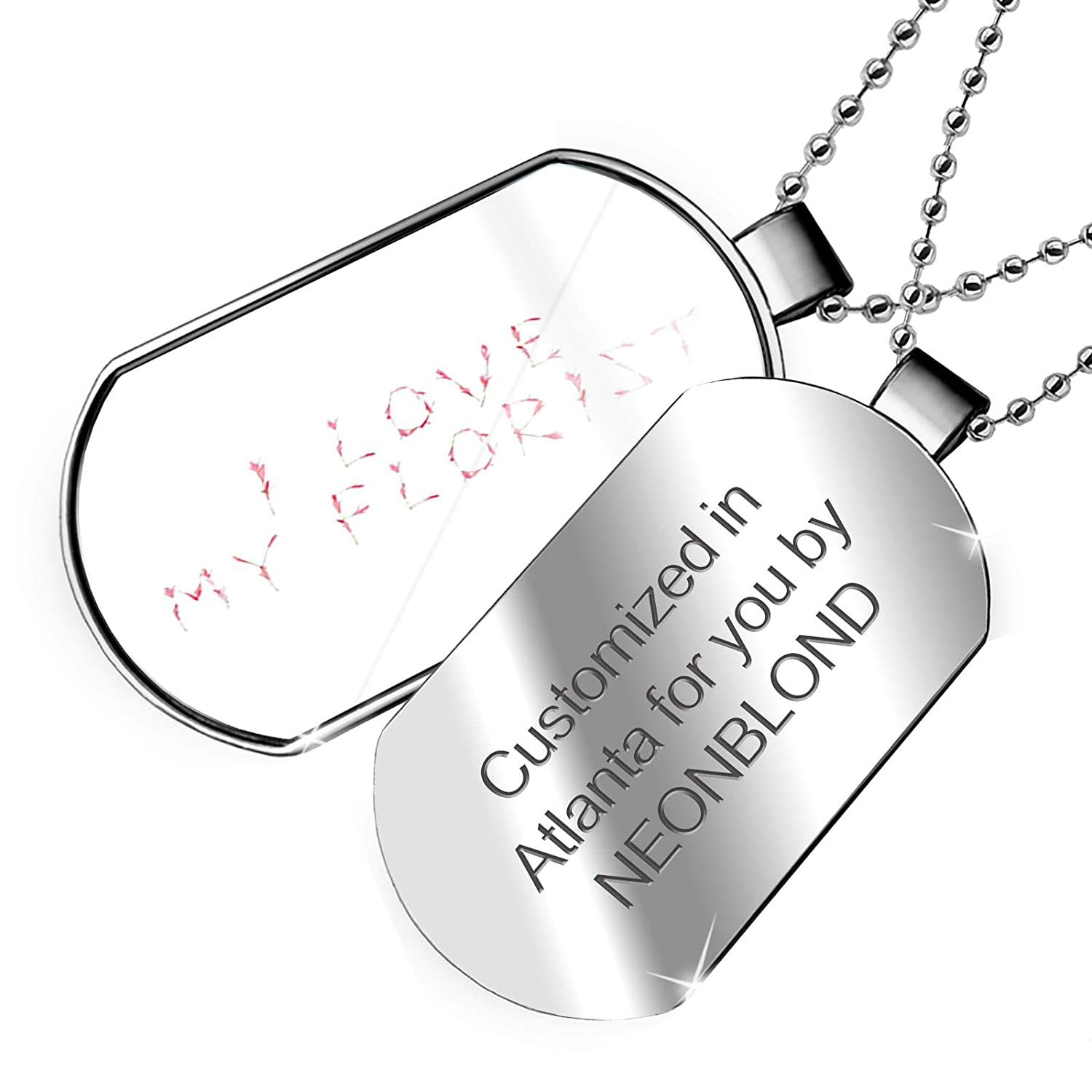 NEONBLOND Personalized Name Engraved I Love Florist Pink Flamingo Flowers Dogtag Necklace