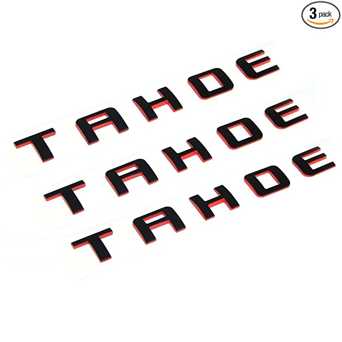 Amazon.com: Yoaoo 3pcs OEM Tahoe Red Line Nameplate Emblem Badge letter 3D Logo for Suburban Original Redline: Automotive
