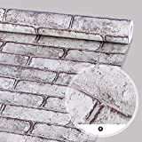 SimpleLife4U Brick Pattern Self-Adhesive Shelf Drawer Liner Moisture Proof PVC Contact Paper 45x300cm