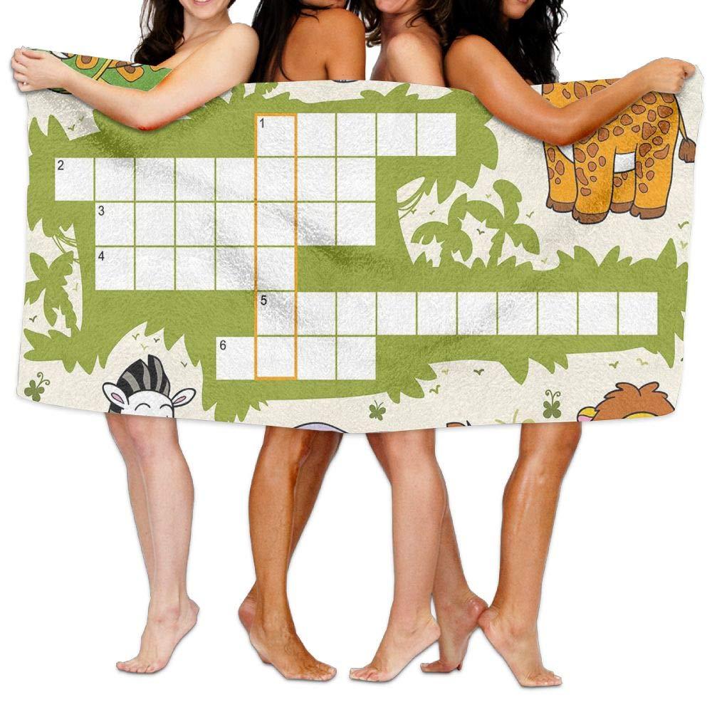 Haixia Absorbent Bath Towel Word Search Puzzle Colorful Crossword Game for Children Wild Jungle Safari Animals Grid Decorative