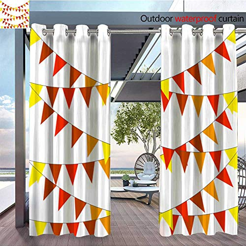 Indoor/Outdoor Single Panel Print Window Curtain Garlands of Flags for Thanksgiving Day Vector Illustration Silver Grommet Top Drape W96 x L108/Pair