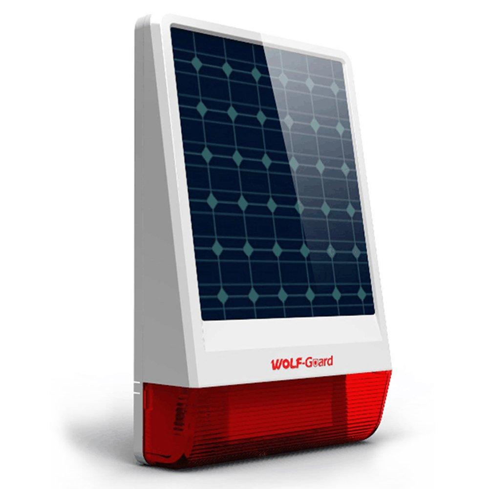 Wolf-guard Jd-w06sirène sans fil, 433MHz Flash extérieur solaire à LED strobe comme Plus d'effet dissuasif, 110dB Live sirène, 30,5x 19,1cm 110dB Live sirène 5x 19 1cm Chi Tong Da