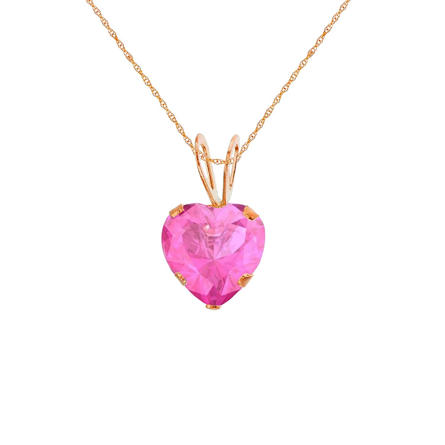 White Rose Gold 6x6mm Heart Genuine Or Created Gemstone Birthstone 18 Rope Chain Necklace Solid 10K Yellow