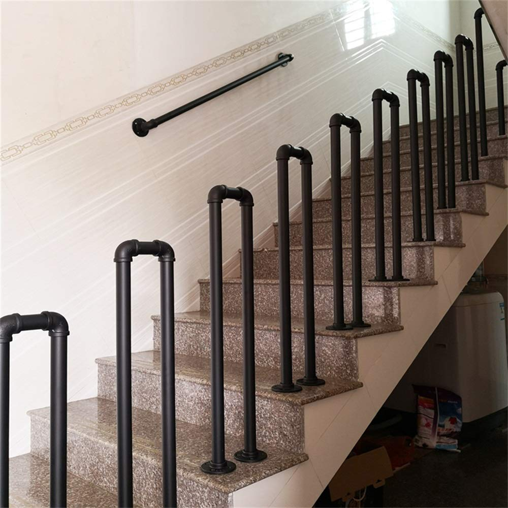 HDGZ Handrail U-Shaped Wrought Iron Stair Handrail, Retro Attic Elderly Child Safety Railing Fence Indoor and Outdoor Pipe Armrest Safety Stair Railing, Disc Diameter 8.5 cm, Black