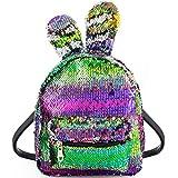 Women Girls Fashion Cute Rabbit Ears Backpack Sequins Shoulder Bag Schoolbag Travel Daypack (Colorful & Silver)