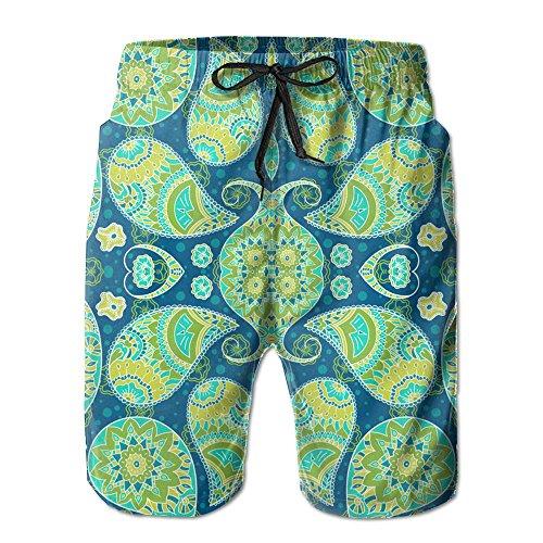 Paisley Mens Shorts (WTCT Beach Pants Turquoise Paisley Men Quick Dry Board Pants Swim Trunks)