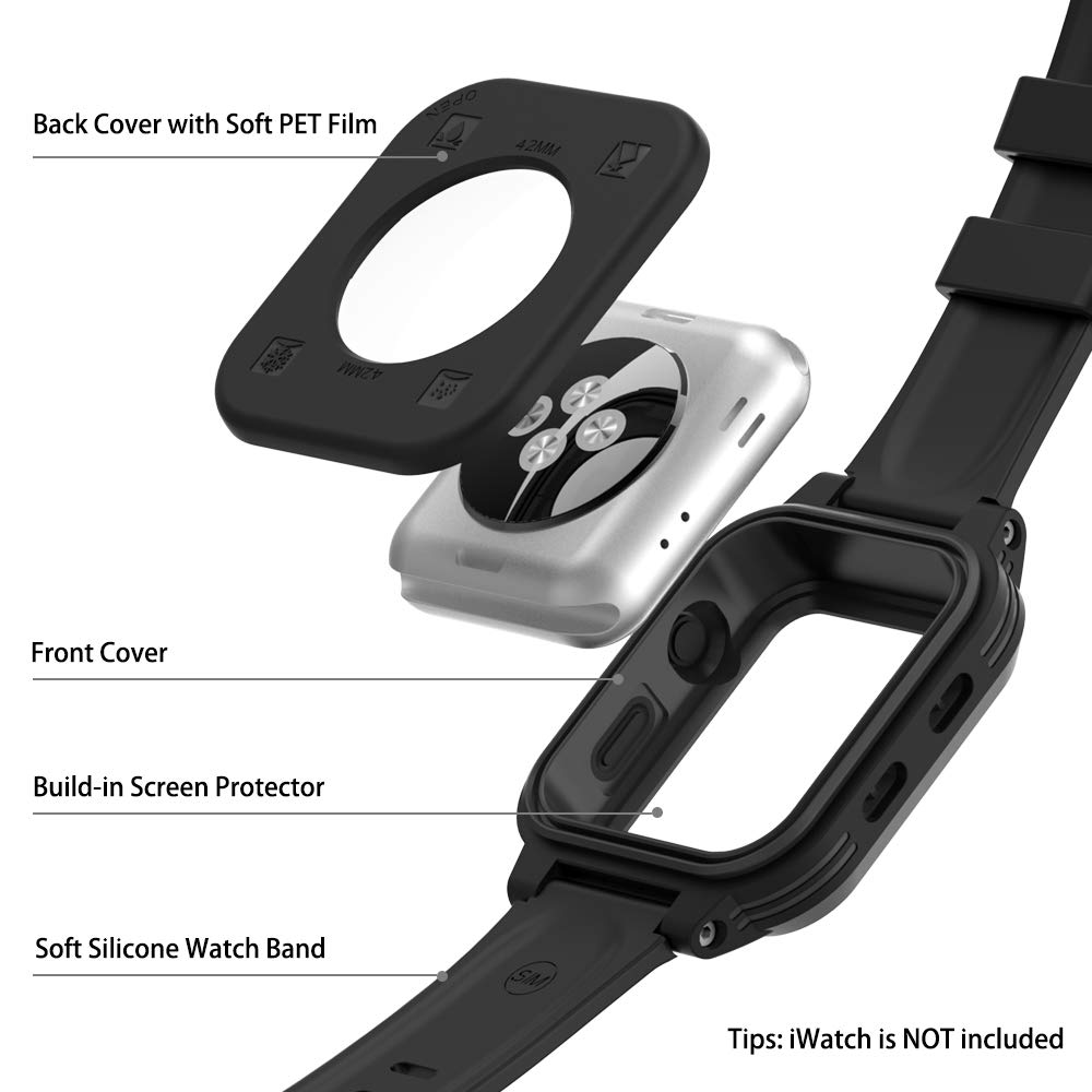 [Waterproof Case for 42mm] AIUERU IP68 Waterproof Watch Case, Full Sealed waterproof iWatch Case with Resilient Shock Absorption for 42mm iWatch Series 3 and 2, Package with 2 Soft Silicone Watch Band by ShellBox (Image #3)