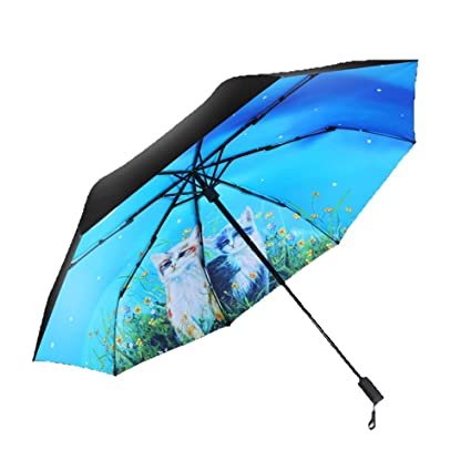 AFCITY Mujer Hombre Paraguas Viaje Paraguas Plegable del Paraguas de la protección Ultravioleta Impermeable de Las
