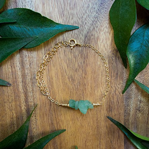 Aventurine Bead Bar Crystal Bracelet in 14k Gold Fill 14k Gold Fill Crystal