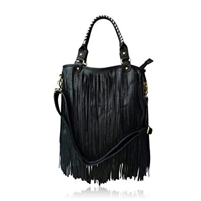 b5543d77f00 Women Tassel Handbag Fashion Shoulder Bag in Black With Fringe LYDC London  Go Bag PU Leather