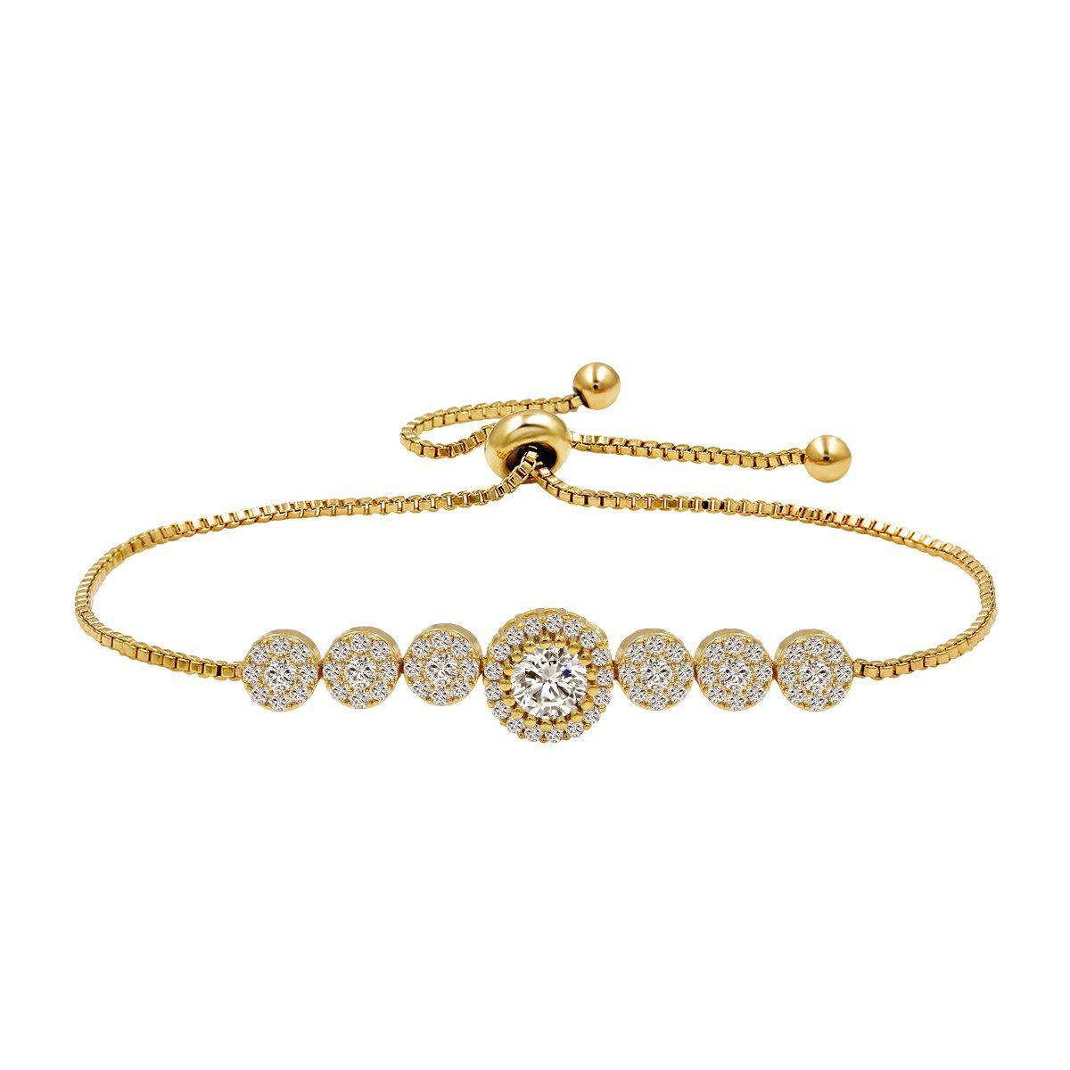 WeimanJewelry Round Cut CZ Cubic Zirconia Crystal Bridal Adjustable Chain Bracelet for Women (Gold)
