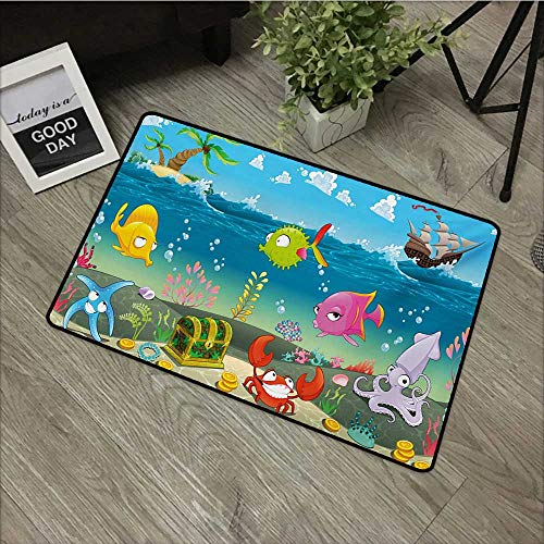 Moses Whitehead Entry Way Shoes Scraper Patio Rug Kids,Funny Sea Animals Underwater Ocean View with Sail Boat Palm Trees Cartoon Artwork,Multicolor,for Kitchen Dining Living Hallway Bathroom 20