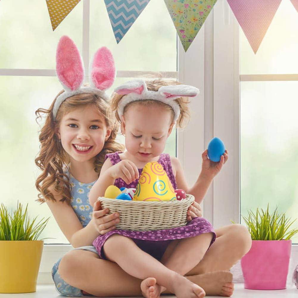 CDJX Oeuf de P/âques Gonflable,6 Ballons doeufs de P/âques en Plastique color/é Cartoon Blow Up Oeuf de P/âques avec gonfleur faveurs de f/ête de P/âques pour Les Enfants Adultes