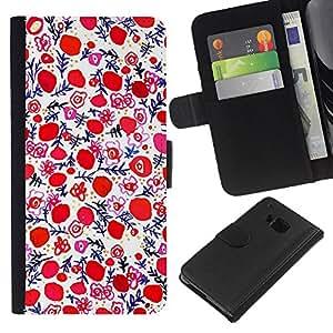 All Phone Most Case / Oferta Especial Cáscara Funda de cuero Monedero Cubierta de proteccion Caso / Wallet Case for HTC One M7 // Porcelain Painting Wallpaper Red