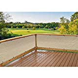 Alion Home HDPE Privacy Screen Windscreen Mesh Shade panel For Backyard Deck, Patio, Balcony, Railing, Porch, Pool -180 GSM - Custom Size Available (30'' x 50', Beige)