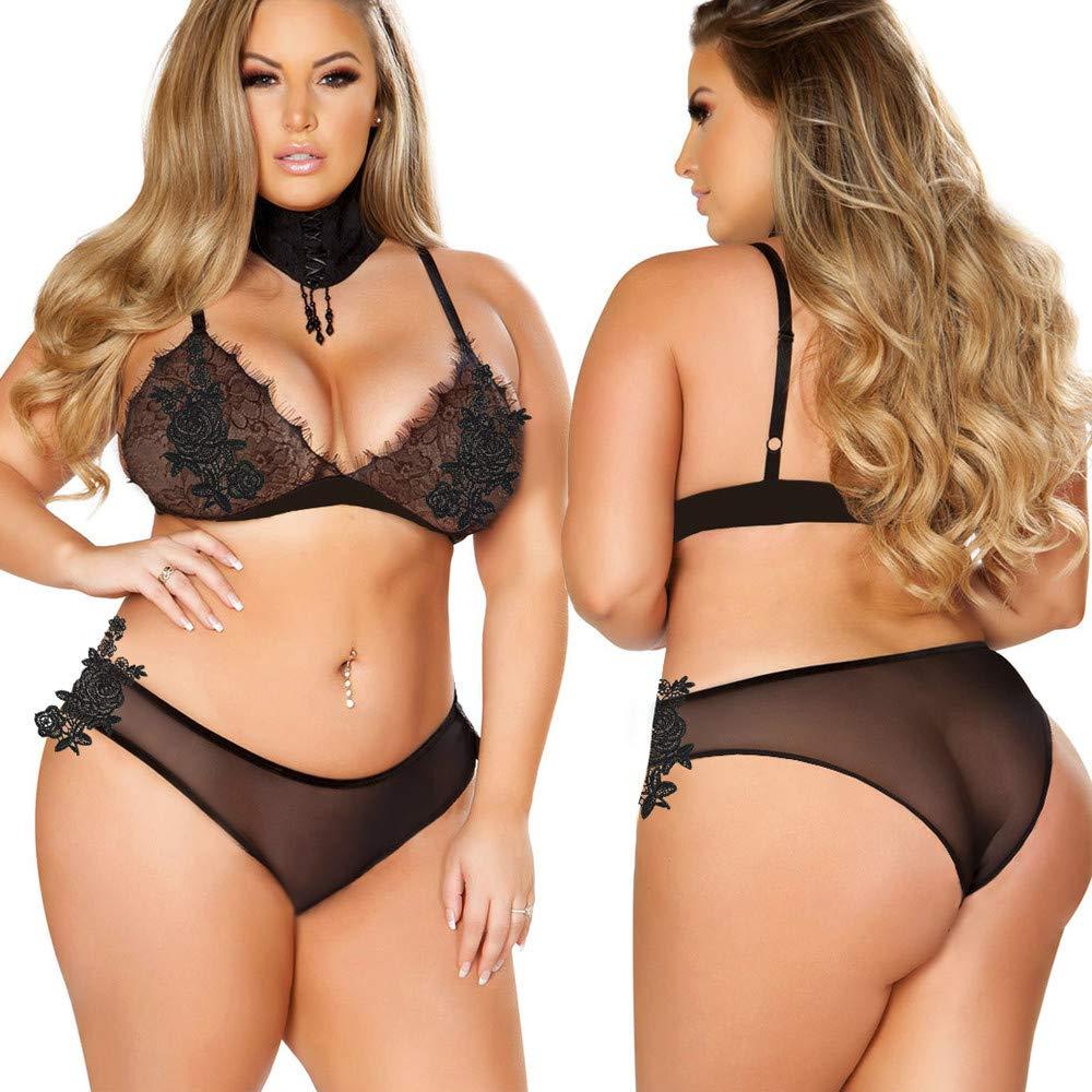 e7b816649 Amazon.com  Fashion Fat Women Plus Size Bra Embroidery Applique Lace Set  Sexy Lingerie Bodydoll(5XL