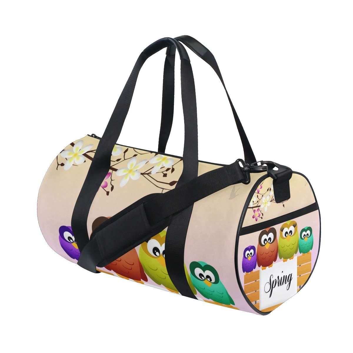 WIHVE Gym Duffel Bag Welcome Spring Cute Cartoon Owls Bench Sports Lightweight Canvas Travel Luggage Bag