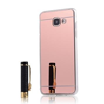 LXHGrowH Funda Samsung Galaxy A3 (2016), [Ultra Delgada] Carcasa con Espejo para Samsung Galaxy A3 (2016) Cover Silicona TPU Protectora Rosado ...