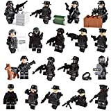 color mogu Army Minifigures SWAT Team With Military Weapons Accessories, Policeman Soldier Minifigures Toys Building Blocks 100% Compatible(18pcs)