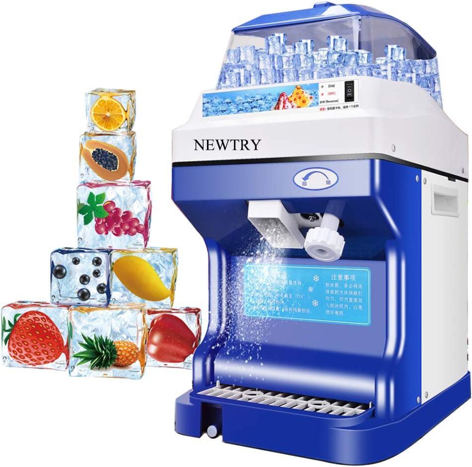 Máquina de afeitar de hielo comercial de alta capacidad de Newtry, espesor ajustable, máquina de afeitar de hielo automática con triturador de hielo (220 V)