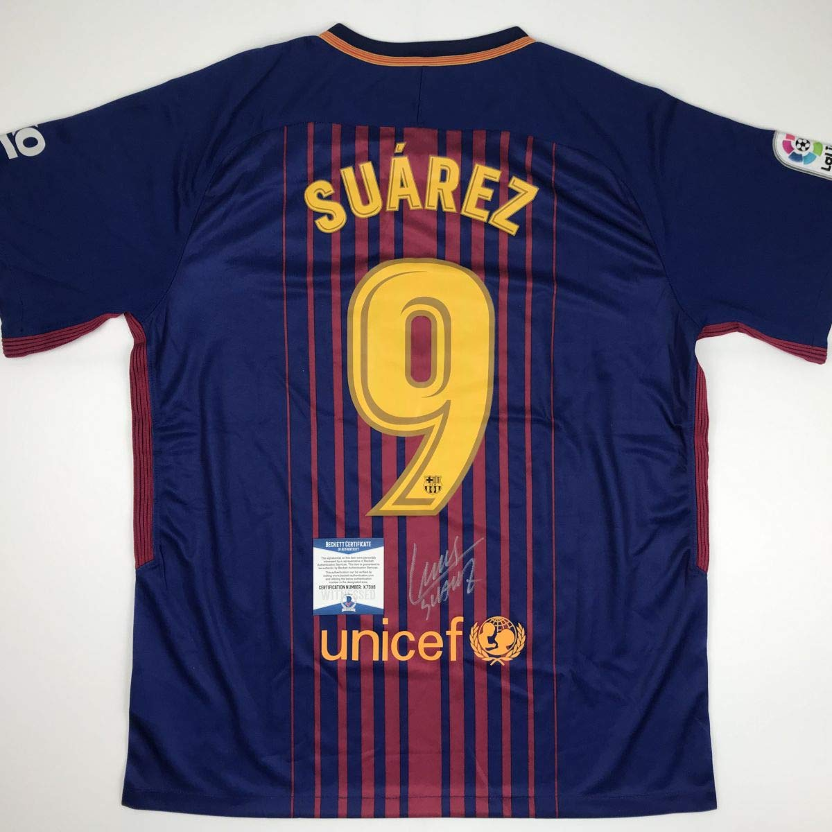 262a8440769 Autographed/Signed Luis Suarez FC Barcelona Red/Blue Soccer Futbol Jersey  Beckett BAS COA at Amazon's Sports Collectibles Store