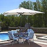 Blue Wave Caspian Rectangular Market Umbrella, 8-Feet by 10-Feet, Champagne Linen Olefin