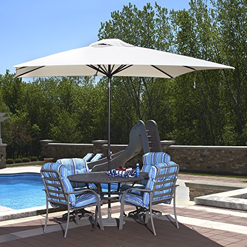Island Umbrella NU5448CH Caspian Rectangular Market Umbrella, 8-ft x 10-ft, Champagne Olefin