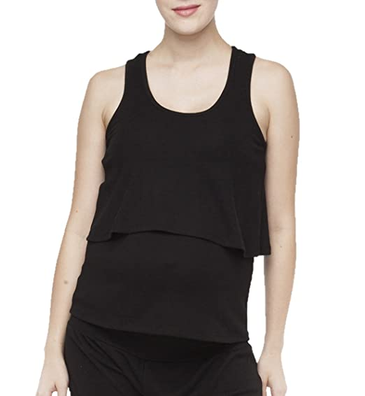 5c338ecaa400d Belabumbum Women's Essential Maternity and Nursing Layered Tank Top, Black,  Small