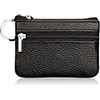 Hibate Women's Mini Coin Purse Wallet Genuine Leather Zipper Pouch with Key Ring