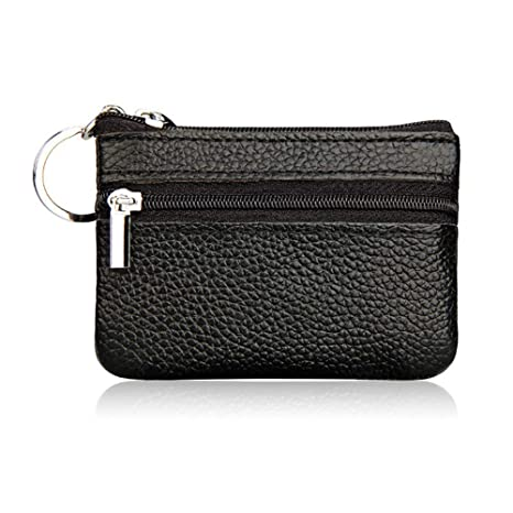 477d7332b47 Hibate Mini Coin Purse Holder Wallet Leather Purses for Women Men Kids Zipper  Pouch with Key Ring - Black  Amazon.co.uk  Luggage