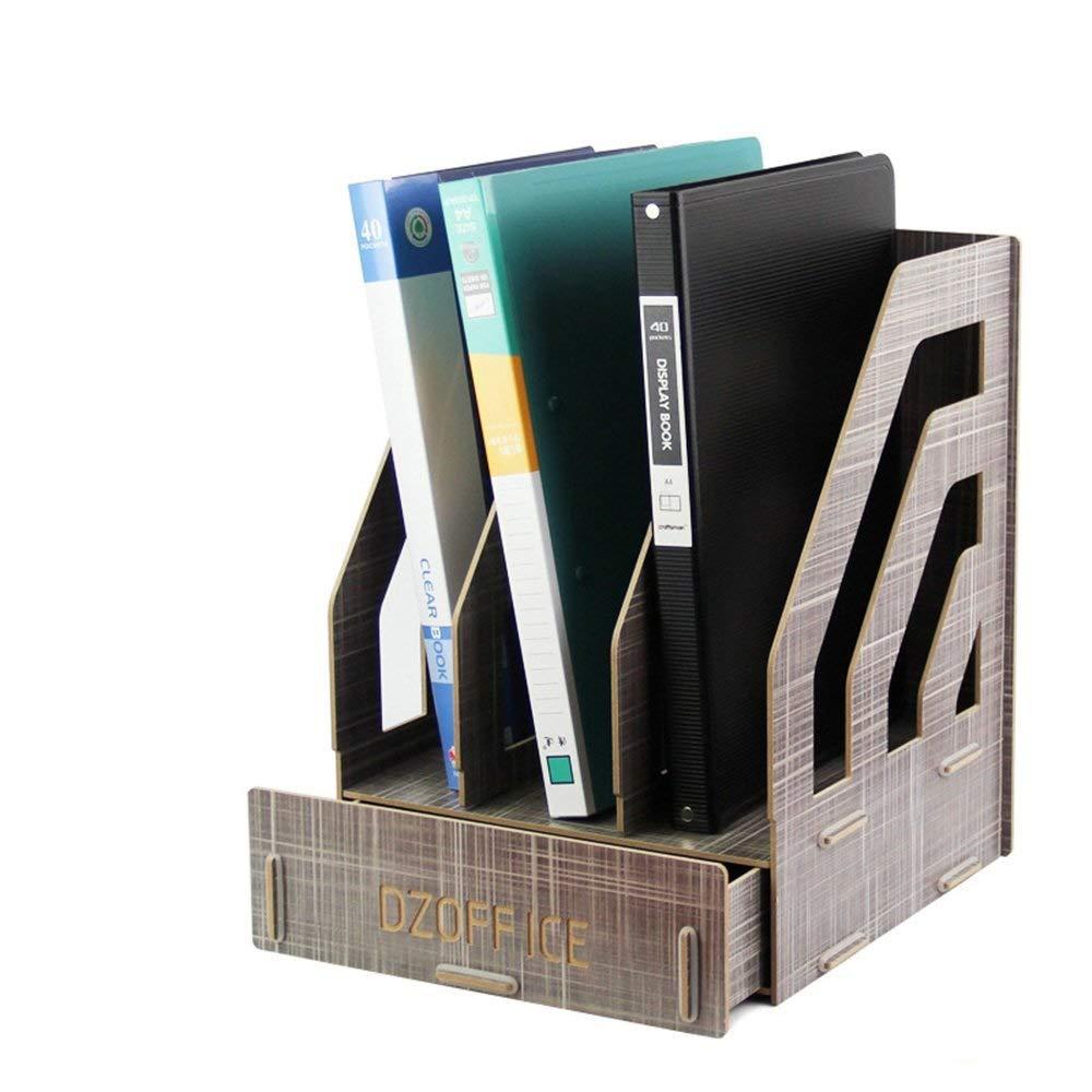 LLDDP Folders Yishelle Magazine File Rack Holder Office Desk Folder A4 Data Drawer Rack Wooden Shelves Office School Desk Organiser Box Document Wallet (Color : A) by LLDDPOffice supplies