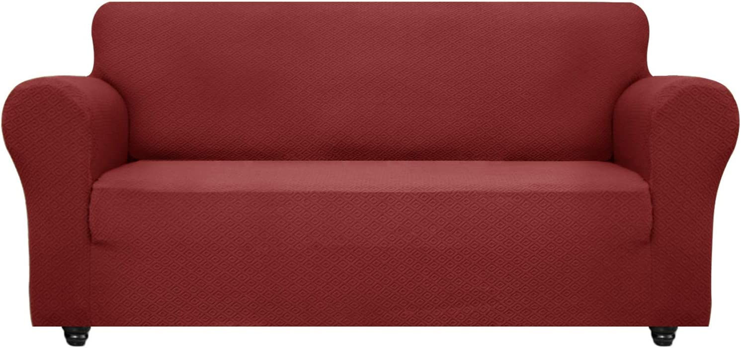 OBYTEX Stretch Sofa Cover Jacquard Spandex Couch Covers Dog Cat Pet Slipcovers Furniture Protectors, Machine Washable (Large, Burgundy)