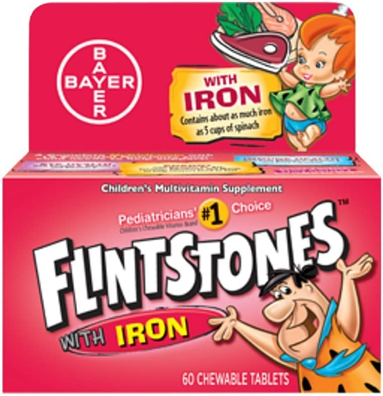 Flintstones Chewable Tablets With Iron 60 Tablets Pack of 3