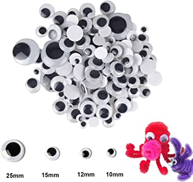 1200pcs Googly Wiggle Eyes Self Adhesive Black White Eyes Animal Eyes with Multi Sizes 6mm 8mm 10mm 12mm 15mm for DIY Craft Scrapbooking Halloween Christmas Decorations
