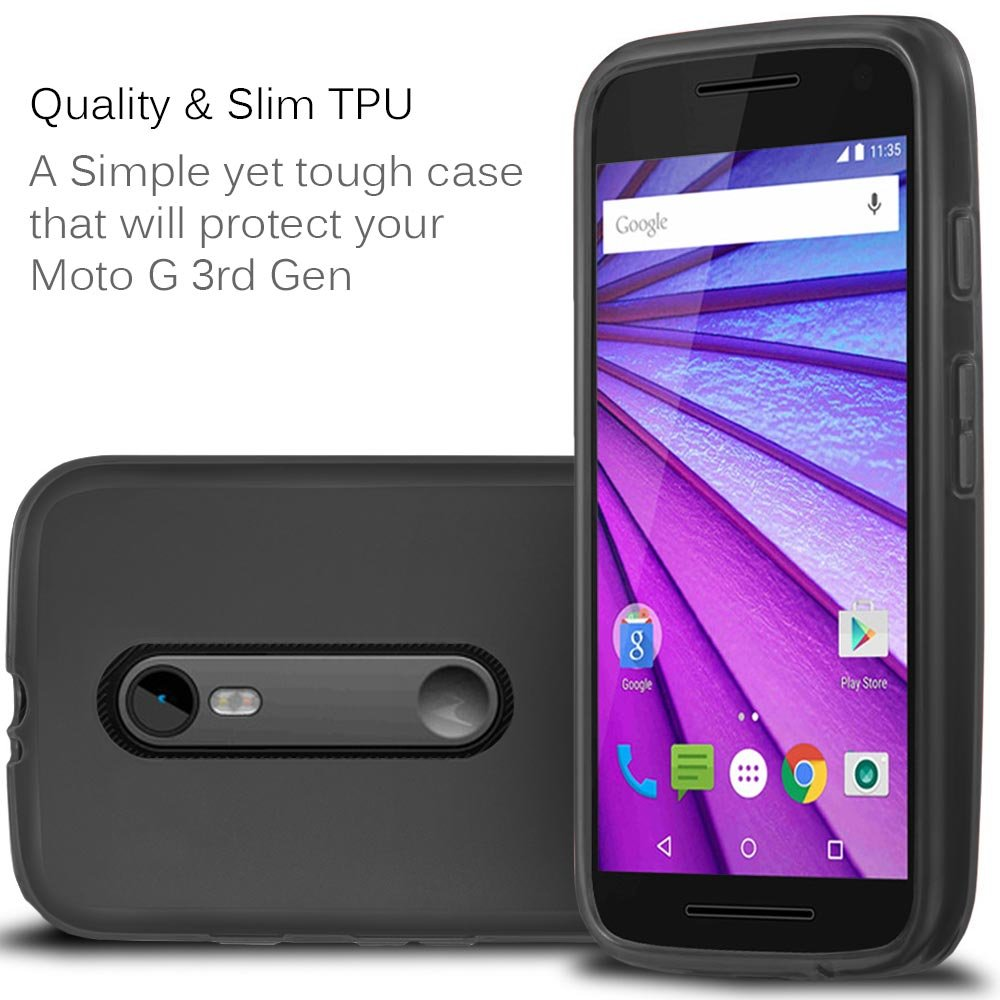 Moto G (3rd Gen, 2015) Case - Fosmon DURA-FROST Series Flexible TPU Case for Motorola Moto G 3rd Generation (Black)