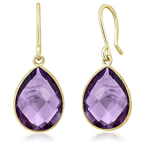 Gem Stone King 13.00 Ct Faceted Amethyst 16x12mm Pear Shape Gold Plated Silver Dangle Earrings