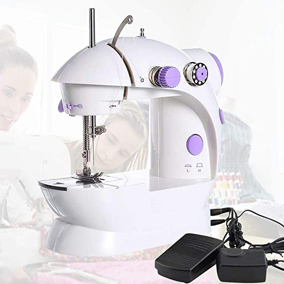 45Pcs Kit Sewing Machine Mini Size,Small and Portable Electric Crafting Mending Machine 2-Speed Double Thread with Foot Pedal for Household Travel Beginner