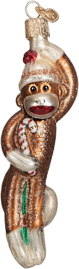 Old World Christmas Kids Toy Collection Glass Blown Ornaments for Christmas Tree Sock Monkey