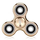 Tri Fidget Hand Spinner Toy,Stress Reducer Ultra Durable High Speed Ceramic Bearing Fidget Finger Toy - Perfect for ADD / ADHD / Anxiety / Autism And Stress Relief Adult Children,Office Desk Gadget (Gold)
