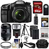 Sony Alpha A68 Digital SLR Camera & 18-55mm Lens 70-300mm Lens + 64GB + Battery & Charger + Case + Strap + Tripod + Flash + Kit