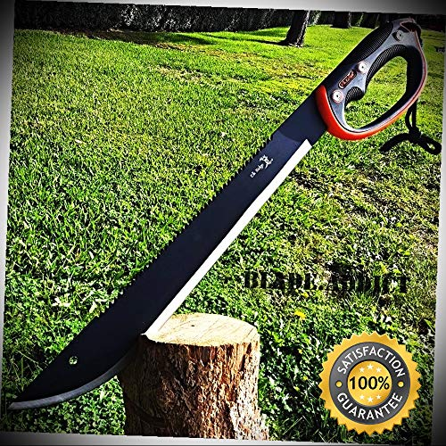 Knife Blade Bass Fixed - 22'' HUNTING SURVIVAL Sawback Military FULL TANG MACHETE Fixed Blade Knife SWORD - Outdoor For Camping Hunting