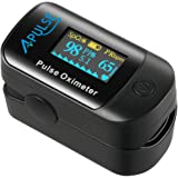Pulse Oximeter Fingertip, APULSE Blood Oxygen Saturation Monitor with Alarm, OLED Display Oximeter with Silicone Cover, Carrying case, Batteries and Lanyard (Black)