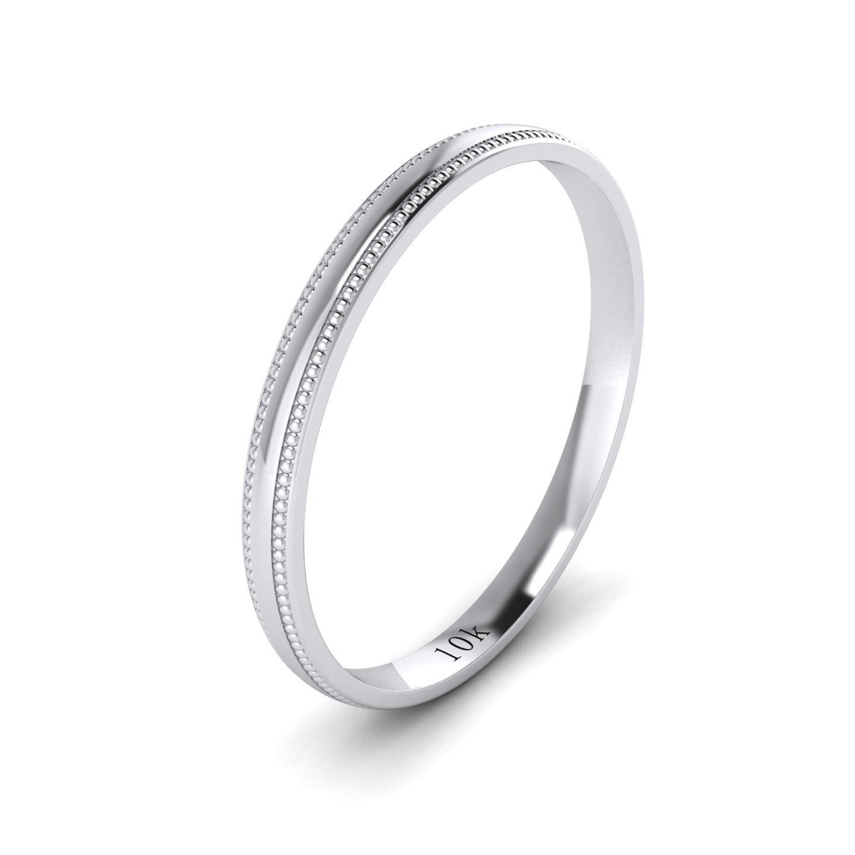 Unisex 10k White Gold 2mm Light Court Shape Comfort Fit Polished Wedding Ring Milgrain Band (11.5)